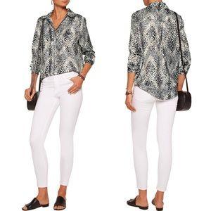 {TART} Georgia lace-up leopard-print satin blouse